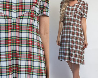 PLAID dress- Vintage 60s 70s MIDI short sleeve TARTAN red holiday grunge Autumn school girl plaid dress