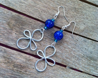 Handmade Silver Wire Wrapped Earrings with Blue Glass Beads ER-011615-01