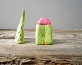 Green clay house, miniature house, colorful home decor, tiny house, red roof, whimsical decor