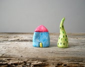 Blue clay house, display miniature house, minimal home decor, colorful quirky house, rustic home decor