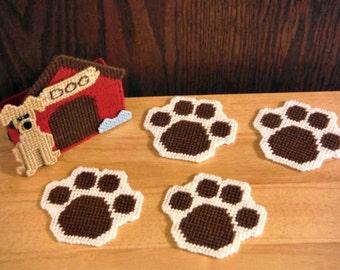 In The Dog House Coaster Set, plastic canvas, needlepoint item, kitchen accessory, paw print, set of 4, dog coasters, dog decor, dog gifts