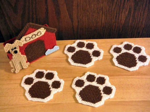 In The Dog House Coaster Set plastic canvas Dog Lover Gift
