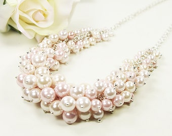 Pink Tone Pearl Beads Mixed Statement Necklace with Silver Chain ./  Wedding Jewelry  , Bridesmaid Necklace .