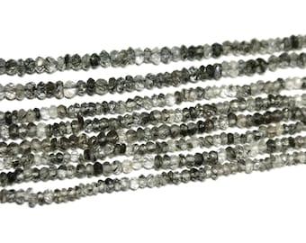 Black tourmalated quartz faceted rondelles.   Select a size:  3mm, 3.75mm
