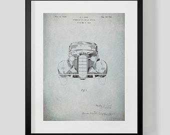 Vintage Car Blueprint, Patent Art Print, Blueprint Art, Vintage Automobile