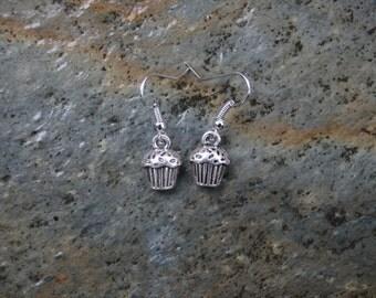 Silver Dangle Cupcake Earrings