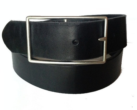 black genuine leather belt silver buckle by staghoundleather