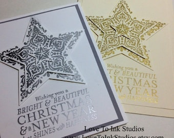 Gold and Silver Christmas Cards-Set of 2