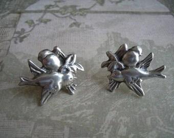 Vintage Sterling Silver Bird Branch Screwback Earrings