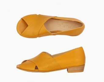 Last pair 40% Criss cross Yellow leather wide Slides with chunky heels women's sandals