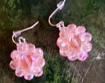 Re-purposed Vintage Pink Crystals Drop Earrings