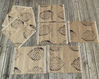 Set of 8 Lovely Hand Printed Burlap Linen Placemats with Hand Crochet Edgings. Handmade Tablemats.Table
