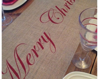 Burlap Table Runner - Christmas runner Merry Christmas - Christmas decorating Holiday decorating Home decor