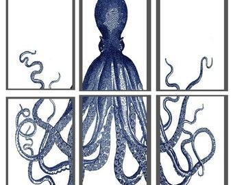 Printable Octopus Triptych Artwork (Navy Octopus)