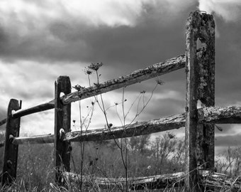 Country Fence Photography - Black And White Photography - Home Decor - Rustic Decor