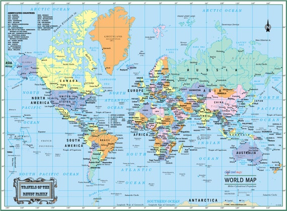 WORLD Wall Map Political Poster X Or - World map 2015