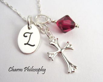 Cross Necklace - Initial and Birthstone Personalized Gift - Religious Jewelry - Sympathy Jewelry