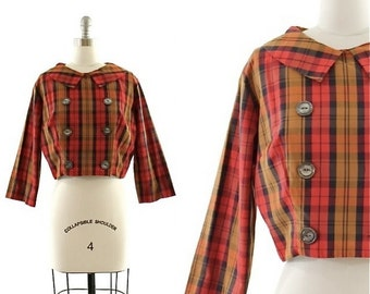 vintage 60s cropped plaid shirt / short collared jacket / red tartan top M