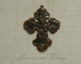 3 Pieces Large Hammered Cross Pendant Charm 56x46mm, hammered cross, Antique Copper Finish, 15-2-C