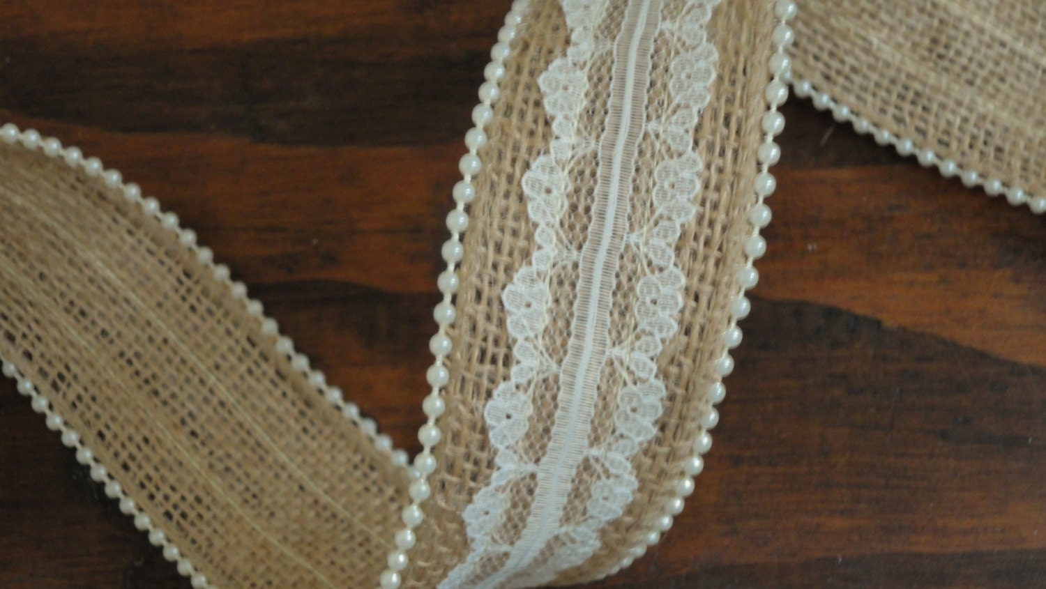 15 Inch Burlap Lace Ribbon With Pearl Trim Ivory Rustic Wedding Decor Country