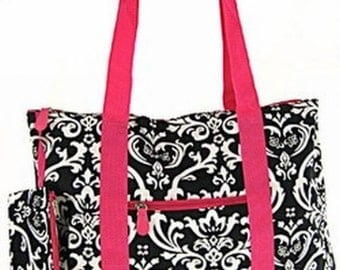 Damask with Hot Pink  Trim Tote with Free Embroidery