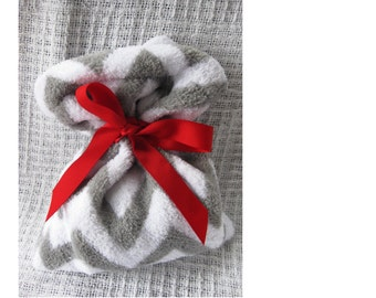 Gray & White Chevron Reusable Gift Fabric Bag with Red Ribbon Tie