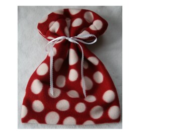 Red Polka Dot Fleece Reusable Gift Bag with White Ribbon