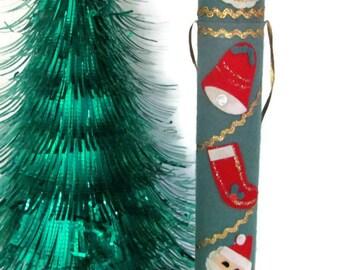 Vintage Christmas Felt, 1960's Christmas Matches, Felt Santa Match Box, Fireplace Matches, Decorative Matches, Christmas Decor