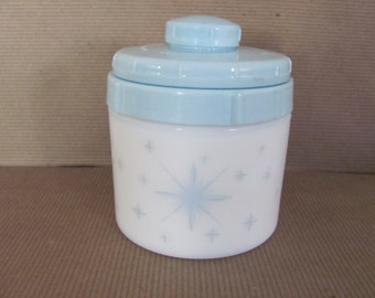 Vintage Milk Glass Jar, 1950's Blue Face Cream, Cold Cream Jar, Atomic, Starburst, Blue Bathroom, NOS, Mid Century Decor