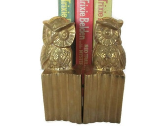 Vintage Brass Owl Bookends, 1970's Book Holders, Mid Century, 1970s Decor