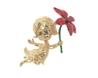 Vintage Christmas Brooch, Pin, 1960's Mylu Angel with Poinsettia Brooch, Angel Brooch, Pin, Holiday, Christmas Jewelry
