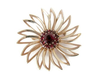 Vintage Flower Brooch, 1970's Sarah Coventry Flower Brooch, Pin, Gold Flower Brooch, Pin, 1970s Brooch, Jewelry