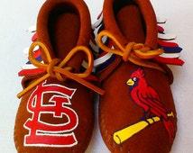 Custom Hand Painted St Louis Cardinals Moccasins Baseball