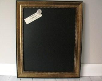 Framed MAGNETIC CHALKBOARD Weddings Kitchen Blackboard Photo Memo Note Antiqued Gold & Black Frame Restaurant Chalk Board Markers Magnets