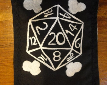20 Sided Dice and Crossbones Patch
