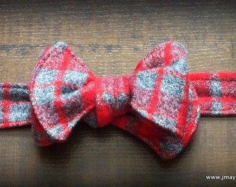 Vintage Red Grey Plaid Flannel Bow Tie by Steady As She Goes Christmas holiday party ring bearer wedding boys costume 3 6 12 mo 2T 3T 4 5 7