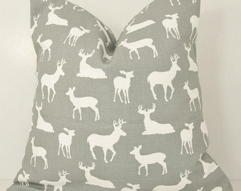Pillow Cover.Pillow.Toss Pillow.Grey.Grey Pillow Cover.Gray.Deer Pillow Cover.18x18.20x20.22x22.24x24.Lumbar.Deer.Animal Print