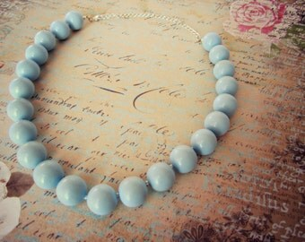 Sky Blue Beaded Necklace - Light Blue Clay Jewelry, Pastel, Periwinkle, Round Bead,16 in., 20 in., READY TO SHIP