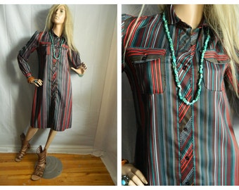 Vintage 1970 Button Down Shirt Dress Multi Colored Stripes Size Small