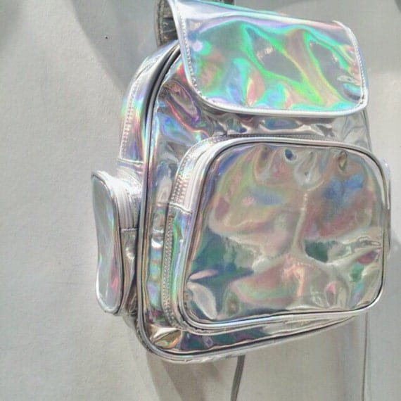 Hologram Silvers: Holographic Backpack Silver Hologram Rucksack Travel Fitness