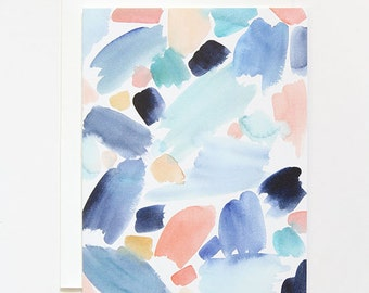 Blue & Coral Strokes- A2 Greeting Card