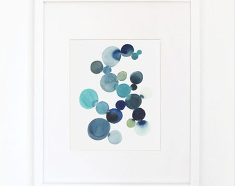 Cluster in Blue- Watercolor Art Print