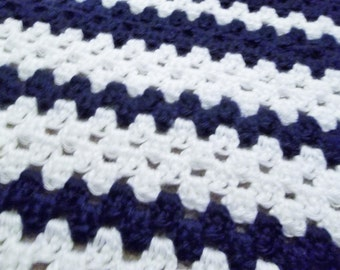 Navy Blue and White Baby Blanket
