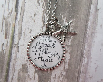 The Beach Is Where My Heart Is Glass Pendant Necklace With Starfish/Crystal Charms