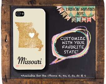 Missouri iPhone Case, Personalized State Love iPhone Case, Fits iPhone 4, iPhone 5, iPhone 5s, iPhone 5c, iPhone 6, NOT REAL GLITTER