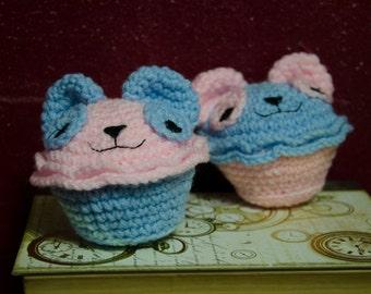 "Amigurumi Cupcake, Cuddle Cake, ""Bubblegum Pandas"" crochet doll"