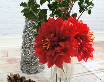 Holiday Poinsettias 2 Large Seven Inch