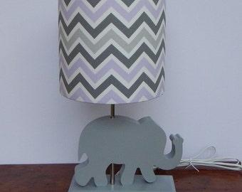 Small Lilac/Grey/White Chevron Drum Lamp Shade - Nursery Lamp Shade