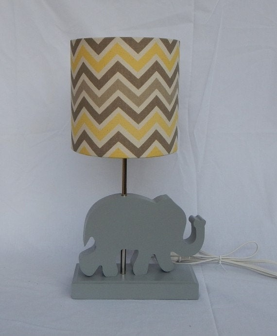 handmade small yellow grey natural chevron drum lamp shade. Black Bedroom Furniture Sets. Home Design Ideas