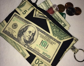 Money Printed Fabric Coin Purse